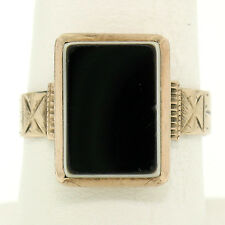 Antique Victorian Etched 10K Rose Gold Bezel Set Uncarved Stone Solitaire Ring