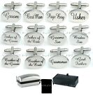 SILVER OVAL mens wedding cufflinks cuff link Groom best man usher page gift CL03