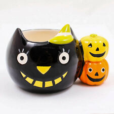 Halloween Black Cat Hand Painted Coffee Tea Mini Ceramic Mug Cup Glass A1035