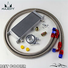 15 Row AN10 Universal Engine Oil Cooler w/ Oil Lines + Silver Filter Adapter Kit