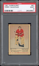 1951-52 Parkhurst #61 Terry Sawchuk Rookie Card PSA 9 MINT