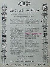 PUBLICITE DUCO AUTO BUGATTI PANHARD TALBOT BALLOT DELAGE LA LICORNE DE 1926 AD