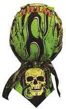 Neon Green Wide Open Skull Headwrap Skull Cap Biker Durag Sweatband Capsmith