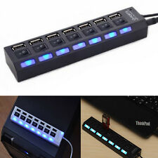 7 Port USB 2.0 Black Hub with High Speed Adapter ON/OFF Switch for Laptop-PC