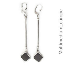 lange Silber Ohrringe Onyx mit Brisur long vintage 925 sterling silver earrings