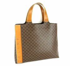 100% Authentic CELINE Macadam PVC Canvas Leather Hand Bag Brown Made in Italy