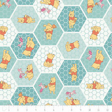 """Camelot Winnie the Pooh Tea Time in Rainwater 100% cotton 43"""" fabric by the yard"""