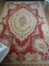 Exquisite NEEDLEPOINT RUG French AUBUSSON shabby VICTORIAN chic TAPESTRY WOOL