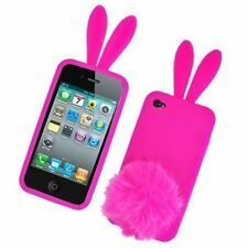 Silicone Skin Case for iPhone 4 / 4S - Hot Pink Bunny with Tail Stand