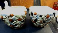 "Pair of SylvaC Ornamental 5"" Pottery Flower Pot Pebbles"