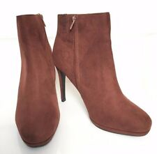 M&S Wider Fit Rust Faux Suede High Stiletto Heel Ankle Boots Insolia BNWT 7.5