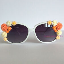 Coral - PinksAndMinks White Embellished Sunglasses Glasses Coral Cream Flowers