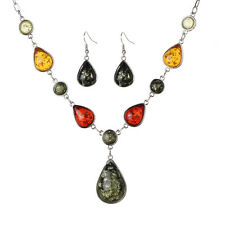 Women Retro Tibetan Silver Amber Pendant Statement Necklace Earrings Set Jewelry