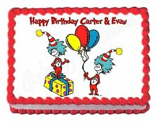 THING ONE & THING TWO Cat in the Hat DR. SEUSS party cake topper cake image