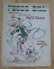 Pecos Bill Sheet Music Piano Solo with words by John W. Schaum