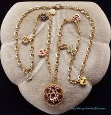 JOAN RIVERS Victorian Language of Flowers Enamel Gold Tone Locket Necklace