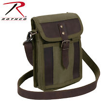 2349 Rothco Canvas Travel Portfolio Bag With Leather Accents - Olive Drab
