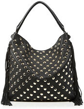 NWT Rebecca Minkoff Black Studded Pebbled Leather Clark Fringe Hobo Bag