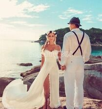 White Ivory Beach Wedding Dress Split Lace Off Shoulder Bridal Gowns Custom Made