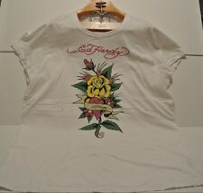 Don Ed Hardy Women's Big Tall 3X XXXL Short Sleeve T-Shirt WHITE Roses Heart