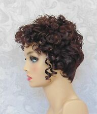 #6 - Short Thick Dark Brown Highlighted Curly top Full Synthetic Wig wigs