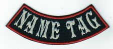 "Custom Embroidered 4"" MINI BOTTOM ROCKER Name Tag Patch Motorcycle Biker"
