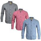 New Soul Star Mens Slim Fit Stripe Long Sleeve Shirt Blue Pink Grey Top S M L XL