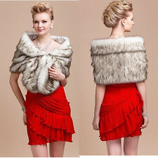 Women Faux Mink Fur Shawl Vest Shrug Coat Capelet For Weddings Evening Gown Cape