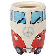 Red & Cream Ceramic Camper Van Kitchen Utensil Holder Storage Jar Pot Caddy