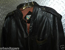 4190/ Members Only Leather Jacket Cafe Racer Brown Classic Vintage Biker Retro