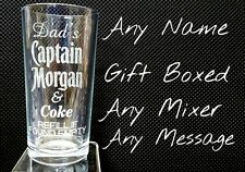 PERSONALISED ENGRAVED CAPTAIN MORGAN GLASS RUM & COKE GLASS GIFT BOXED