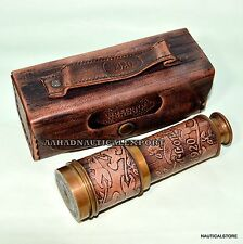 16 inch Brass Ship Telescope Leather Carving Bounded with Leather Case Gift