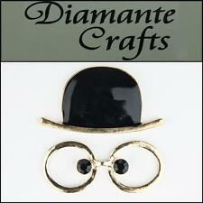3D Hat and Glasses Gold Alloy Black Enamel DIY Mobile Phone Case Deco 3HG2013