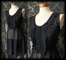 Gothic Black Sheer Frilled GOSSAMER Buttoned Tea Dress 10 12 Victorian Vintage