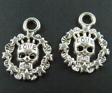70pcs Tibetan Silver Skull Charms Pendants 22x17mm 1162