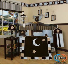 Blue Brown Star & Moon Baby Boy Nursery CRIB BEDDING SET 14PCS Including Mobile