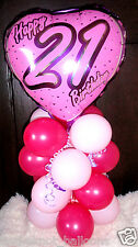 "18"" FOIL BALLOON  TABLE DECORATION DISPLAY HAPPY 21ST BIRTHDAY  HEART PINK & B"