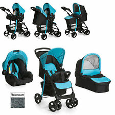 NEW HAUCK SHOPPER TRIO SLX PUSHCHAIR TRAVEL SYSTEM CAVIAR / AQUA FROM BIRTH