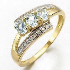 Fantastic Size 6 Halo Aquamarine 18K Gold Filled Women's Fashion Wedding Ring