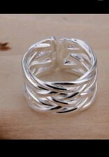 UK stamped 925 Silver wide Ring ADJUSTABLE Wrap friend birthday WEDDING GIFT