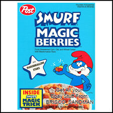 Fridge Fun Refrigerator Magnet SMURF MAGIC BERRIES BREAKFAST CEREAL 80s Retro