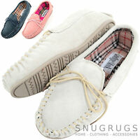 Ladies / Womens Genuine Suede Leather Moccasin / Slippers with Rubber Sole