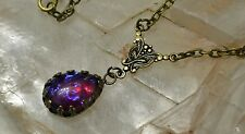 Mexican Fire Glass Opal Antique Gold Victorian Butterfly Pendant Necklace