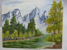 GRAND TETONS ACRYLIC PAINTING ON BOARD UNFRAMED BY MARY HOWELLS