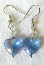 Dangle earrings - 12mm blue a.b. glass heart