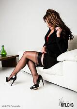 Bas Bas nylon Bas de nylon Cubain Talon, Bas de couture Taille 10 noir
