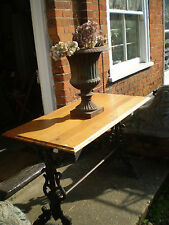 VICTORIAN OAK AND CAST IRON CONSERVATORY OR GARDEN TABLE, SALVAGE,RECLAMATION