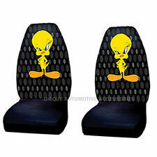 2PC ORIGINAL LOONEY TUNES TWEETY FIRED UP BUCKET SEAT COVERS