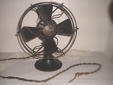 "Original Antique Metal- Blade Oscillating Fan,Vintage Eskimo USA 11-1/2"" High"