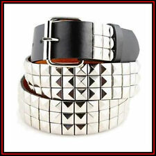 New Men Women 3Rows Silver Metal Pyramid Studded Leather Belt Skulls Crossbones